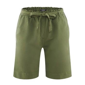 GABY dámské šortky z bio lnu a bio bavlny - zelená fern