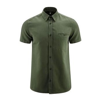GEORGE pánská košile ze lnu a biobavlny - olivová