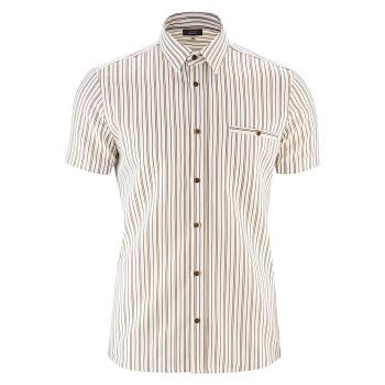 GEORGE pánská košile ze lnu a biobavlny - bíá/tobacco