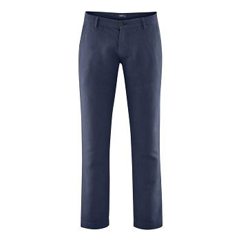 GILBERT pánské kalhoty z bio lnu a bio bavlny - modrá ink