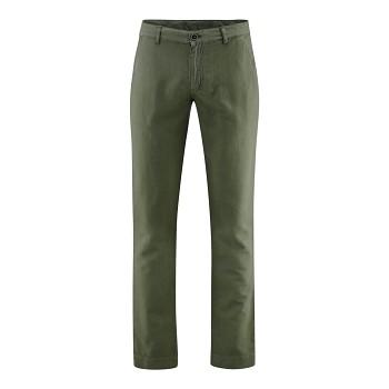 GILBERT pánské kalhoty z bio lnu a bio bavlny - olivová