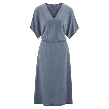 KRISTINA Dámské šaty ze 100% bio lnu - modrá moonlight