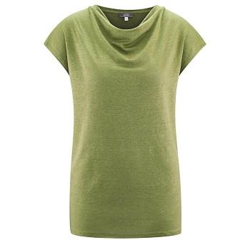 GILKA Dámský top s krátkými rukávy ze 100% lnu - světle zelená fern
