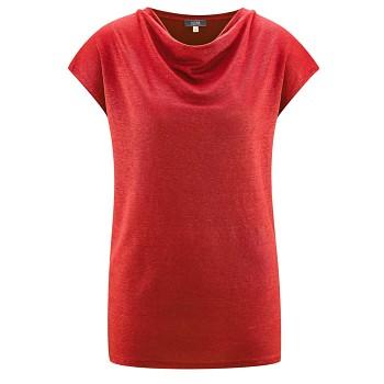 GILKA Dámský top s krátkými rukávy ze 100% lnu - červená poppy
