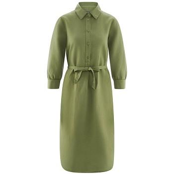 KATELINE dámské šaty z bio lnu a biobavlny - světle zelená fern