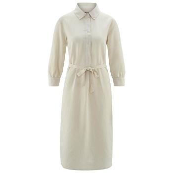 KATELINE dámské šaty z bio lnu a biobavlny - přírodní sand