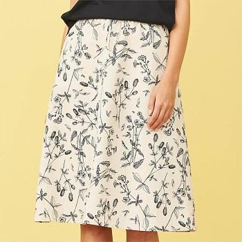 KIMBERLEY dámská sukně z bio lnu a biobavlny - bílá s květovaným potiskem