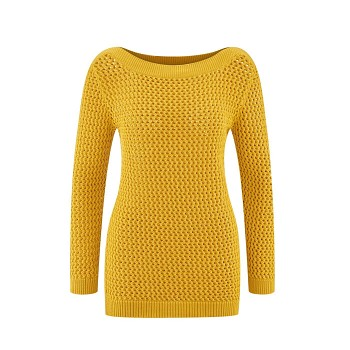 KAREN Dámský svetr ze 100% biobavlny - žlutá mimosa
