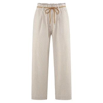 KATHLEEN dámské kalhoty ze 100% bio bavlny - bílá/hnědá tobacco