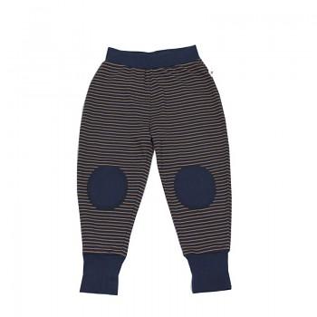 Dětské kalhoty ze 100% biobavlny - zázvorová/indigo