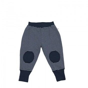Dětské kalhoty ze 100% biobavlny - bílá/indigo