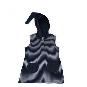 Dětská tunika bez rukávů s kapucí ze 100% biobavlny - bílá/indigo