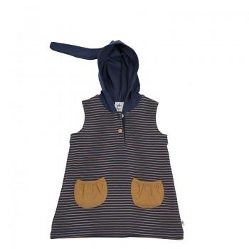 Dětská tunika bez rukávů s kapucí ze 100% biobavlny - zázvorová/indigo