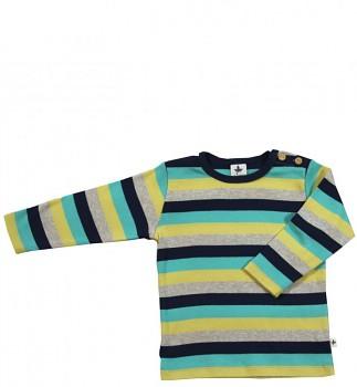 EPHESUS dětské tričko ze 100% biobavlny - pruhovaná modro-šedo-žlutá
