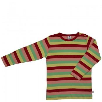 PERGAMON dětské tričko ze 100% biobavlny - pruhovaná červeno-žluto-zelená