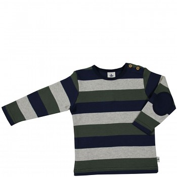 KAPPADOKIEN dětské tričko ze 100% biobavlny - pruhovaná modro-šedo-zelená