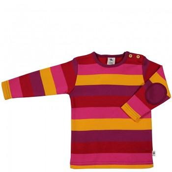 SMYRNA dětské tričko ze 100% biobavlny - pruhovaná žluto-červeno-fialová
