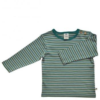 WATTENMEER dětské tričko ze 100% biobavlny - pruhovaná šedá-modrá-zelená