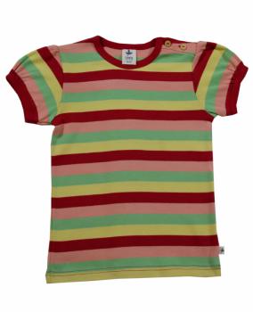 PERGAMON dětské tričko s krátkými rukávy ze 100% biobavlny - pruhovaná červeno-žluto-zelená