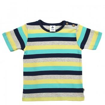 EPHESUS dětské tričko s krátkými rukávy ze 100% biobavlny - pruhovaná modro-šedo-žlutá