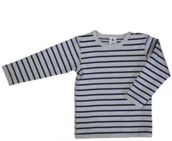 Dětské oboustranné tričko s dlouhými rukávy ze 100% biobavlny - modrá/šedá