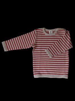 BREMER Dětské oboustranné tričko s dlouhými rukávy ze 100% biobavlny - červená/šedá