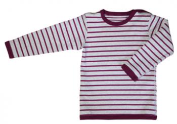 Dětské oboustranné tričko s dlouhými rukávy ze 100% biobavlny - červená/přírodní