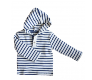 MARITIM Dětské tričko s kapucí ze 100% biobavlny - modrá/přírodní