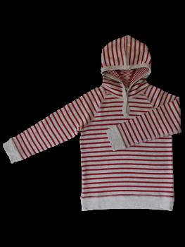 BREMER Dětské tričko s kapucí ze 100% biobavlny - červená/přírodní