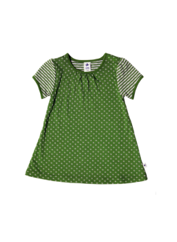WESERSTRAND dívčí letní šaty ze 100% biobavlny - zelená/béžová