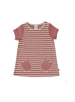 BREMER dívčí letní šaty ze 100% biobavlny - pruhovaná cihlově červená/béžová