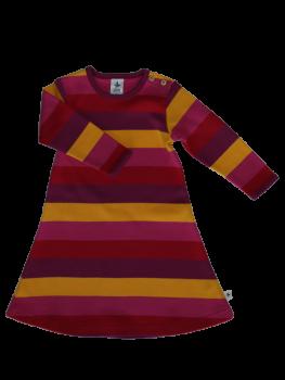 SMYRNA dívčí šaty ze 100% biobavlny - pruhovaná žlutá/červená/fialová