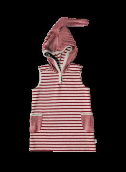 BREMER dětská tunika bez rukávů s kapucí ze 100% biobavlny - cihlově červená/šedá melanž