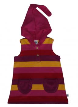 SMYRNA dětská tunika bez rukávů s kapucí ze 100% biobavlny - žlutá/červená/fialová