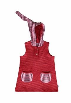 Dětská tunika bez rukávů s kapucí ze 100% biobavlny - přírodní/červená ibišková