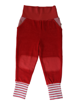 BREMER dětské kalhoty ze 100% biobavlny - cihlově červená