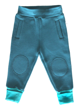 ASSOS Dětské fleecové kalhoty ze 100% biobavlny - modrá donau/lapis