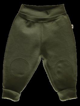 Kojenecké fleecové kalhoty ze 100% biobavlny - khaki tymián