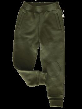 Dětské fleecové kalhoty ze 100% biobavlny - khaki tymián