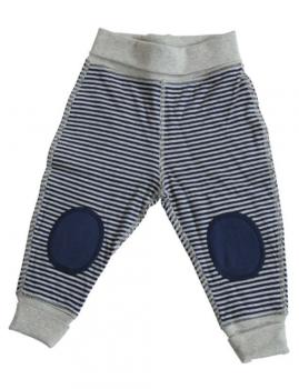WENDE oboustranné kojenecké kalhoty ze 100% biobavlny - tmavě modrá/šedá