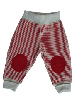 WENDE BREMER oboustranné kojenecké kalhoty ze 100% biobavlny - cihlově červená/ šedá melanž