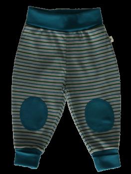 RINGEL WATTENMEER kojenecké kalhoty ze 100% biobavlny - pruhovaná šedá-modrá-zelená