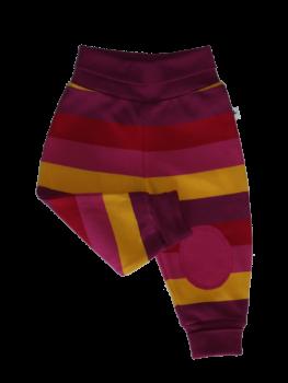 RINGEL SMYRNA kojenecké kalhoty ze 100% biobavlny - pruhovaná žlutá/červená/fialová