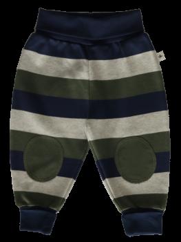 RINGEL KAPPADOKIEN kojenecké kalhoty ze 100% biobavlny - pruhovaná modro-šedo-zelená
