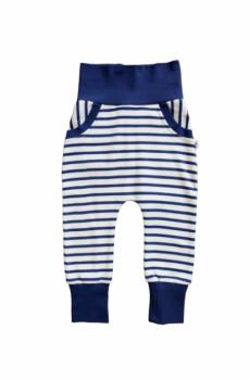 HAREM kojenecké kalhoty ze 100% biobavlny - pruhovaná modrá navy/ přírodní
