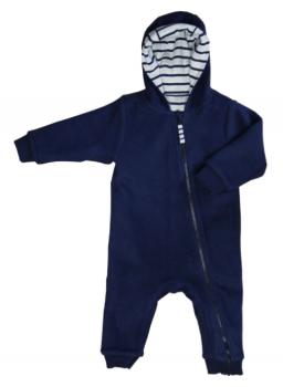 WENDE oboustranný kojenecký overal ze 100% biobavlny - modrá marine/pruhovaná