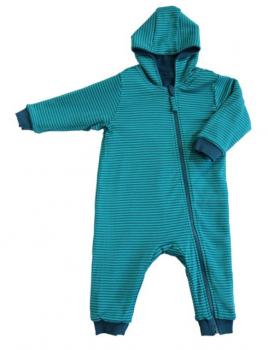 WENDE ASSSOS oboustranný kojenecký overal ze 100% biobavlny - modrá donau/lapis