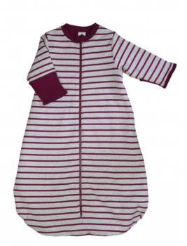 WENDE oboustranný kojenecký spací vak ze 100% biobavlny - fialová/pruhovaná