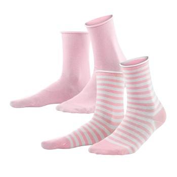 ALEXIS dámské ponožky z biobavlny - růžová rosé/bílá (2 páry)