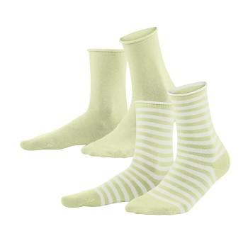 ALEXIS dámské ponožky z biobavlny - zelená milky green/bílá (2 páry)